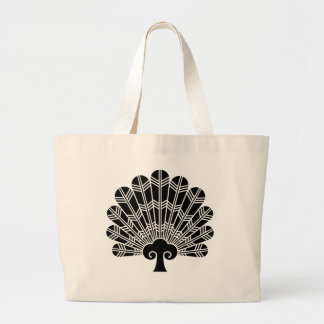 Feather round fan of 鷹 large tote bag