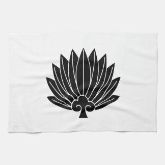 Feather round fan tea towel