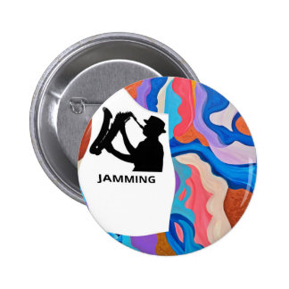 Feather Saxophone Jamming 6 Cm Round Badge
