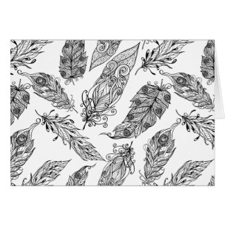 Feather Swirl Doodle Greeting Card