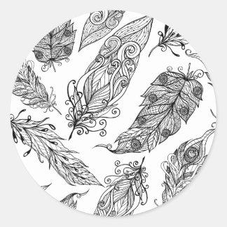 Feather Swirl Doodle Round Sticker