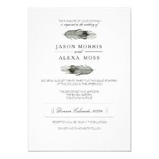 Feather Watercolor | Elegant Boho Wedding Card