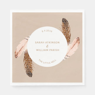 Feather Watercolor Luncheon Napkin Paper Napkin
