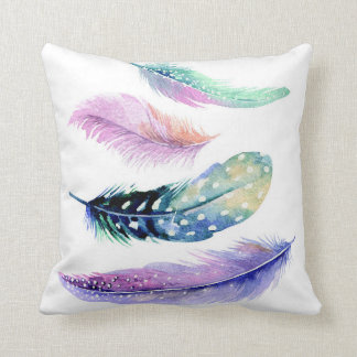 Feather Watercolour Throw Cushion