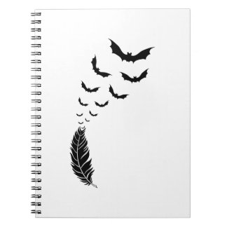 Feather with flying bats spiral notebook