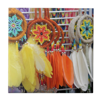 Feathered Dream Catchers Small Square Tile
