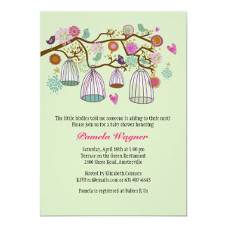 Feathered Friends (Mint) Invitation