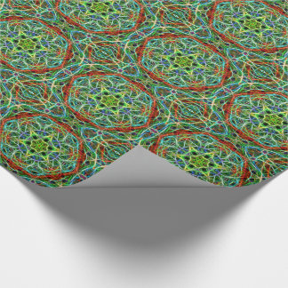 Feathered green and brown mandala tiled paper