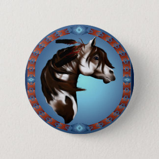 Feathered Paint Horse-Button 6 Cm Round Badge