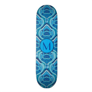 Feathered Paisley - Blueish 21.6 Cm Old School Skateboard Deck