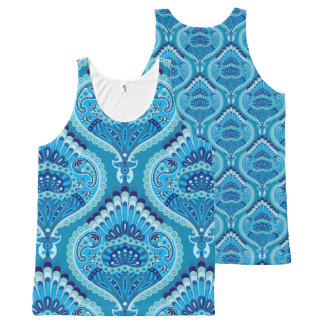 Feathered Paisley - Blueish All-Over Print Singlet