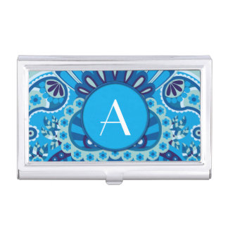 Feathered Paisley - Blueish Business Card Holder