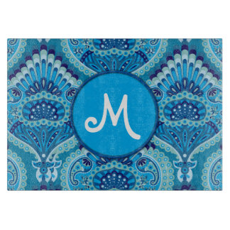 Feathered Paisley - Blueish Cutting Board