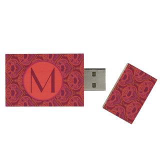 Feathered Paisley - Pinkoinko Wood USB 2.0 Flash Drive