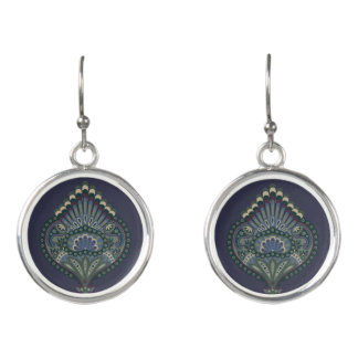 Feathered Paisley - Winter Forest Earrings