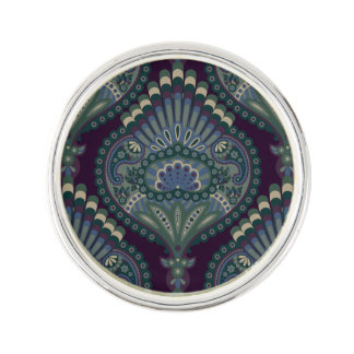 Feathered Paisley - Winter Forest Lapel Pin
