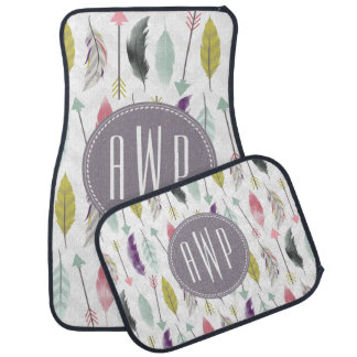 Feathers and Arrows Monogram Set of 4 Car Mats Floor Mat