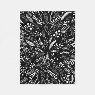 Feathers and Ferns in Black and White Fleece Blanket