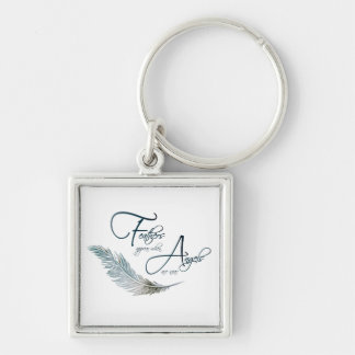 Feathers Appear When Angels Are Near Silver-Colored Square Key Ring