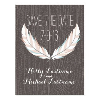 Feathers + Barn Wood Wedding Save The Date Postcard