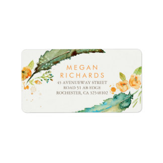 Feathers Bohemian Romantic Teal Wedding Address Label