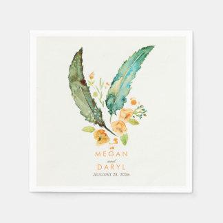 Feathers Bohemian Teal Wedding Disposable Napkin