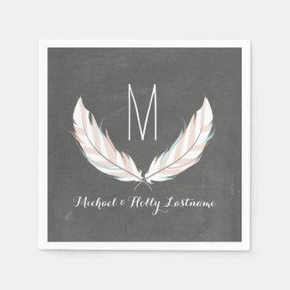 Feathers + Chalkboard Monogram Wedding Disposable Serviette