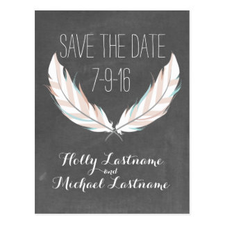 Feathers + Chalkboard Wedding Save The Date Postcard