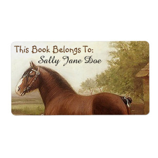 Feathers Clydesdale Draft Horse Bookplates Labels