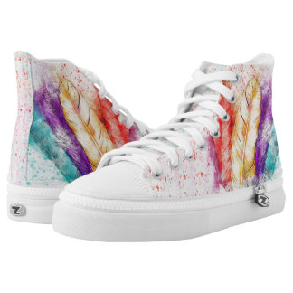Feathers colorful paint design High top shoes