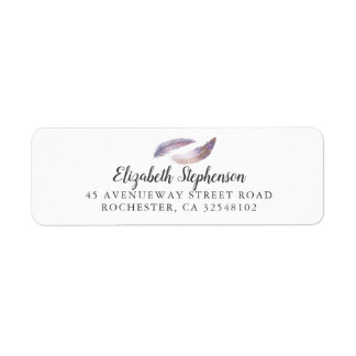 Feathers Couple Watercolor Bohemian Return Address Label