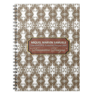 Feathers Decorative Brown White Modern Notebook