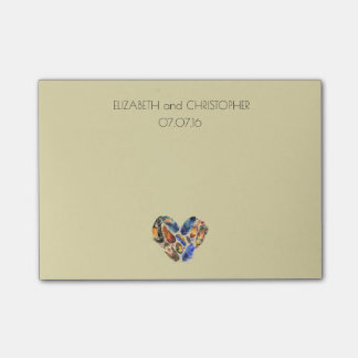 Feathers In A Heart Shape Personalized Wedding Post-it® Notes