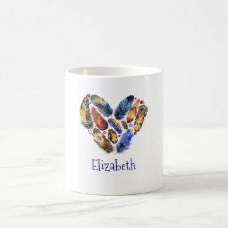 Feathers In A Heart Shape Watercolor Personalized Coffee Mug
