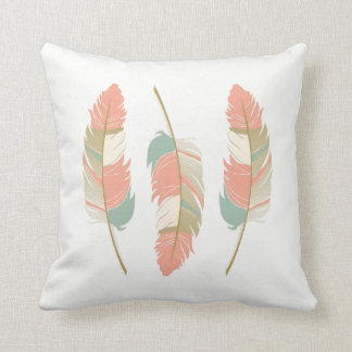 Feathers in Coral, Mint Green and Cream Cushion