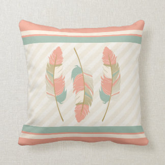 Feathers in Coral , Mint Green and Cream Cushion