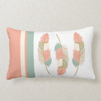 Feathers in Coral, Mint Green and Cream Lumbar Cushion