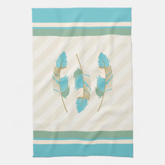 Feathers in Cream, Blue and Green Tea Towel