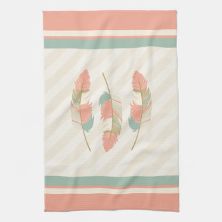 Feathers in Cream, Coral and Mint Green Tea Towel