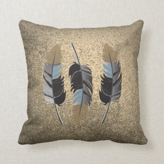 Feathers in Gray, Blue, Brown on Grunge Tan Cushion