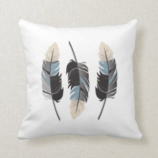 Feathers in Gray, Blue, Cream Cushion