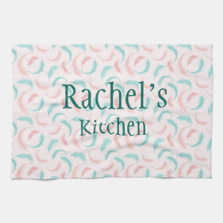 Feathers in pink and blue tea towel
