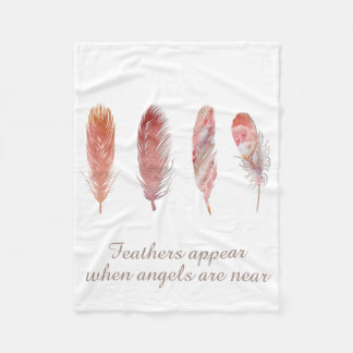 Feathers in pink and coral on white angel quote fleece blanket