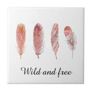 Feathers in pink and coral on white wild and free ceramic tile