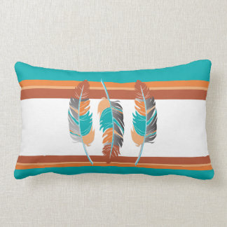 Feathers in Teal and Desert Colors 2 Lumbar Cushion