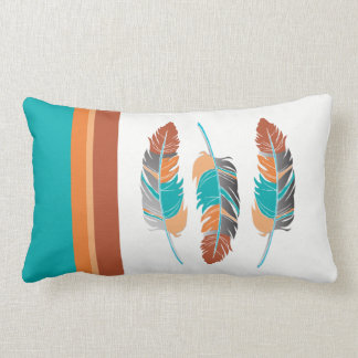 Feathers in Teal and Desert Colors Lumbar Cushion