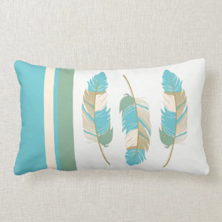 Feathers in Teal, Green and Cream Lumbar Cushion