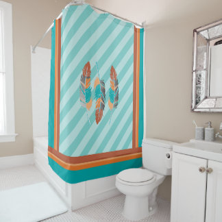 Feathers in Teal Stripes and Desert Colors Shower Curtain