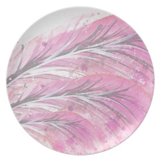 feathers, light rose, elegant, sophisticated plate