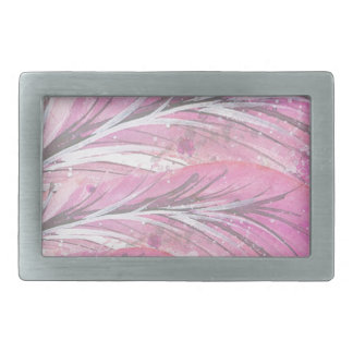 feathers, light rose, elegant, sophisticated rectangular belt buckle